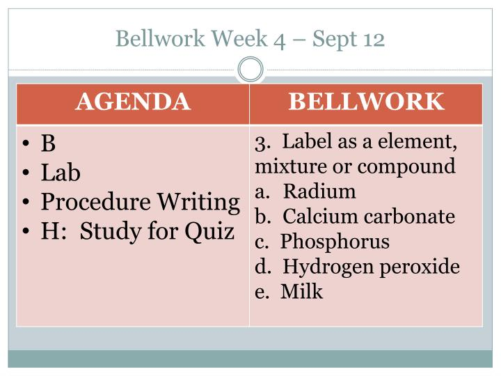 Bellwork