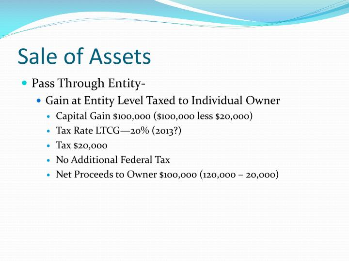 Sale of Assets