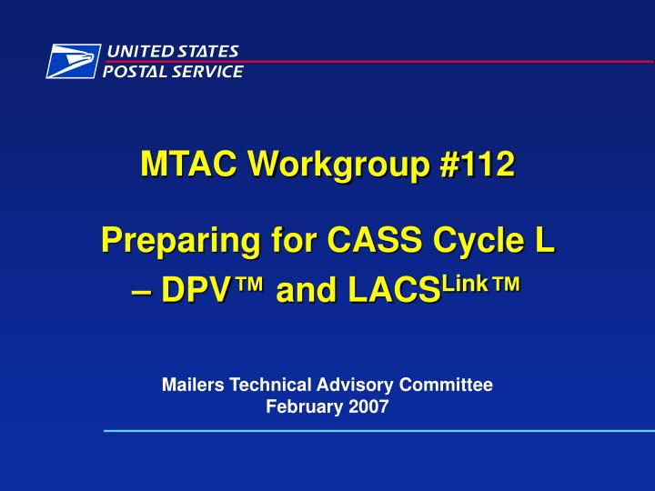 MTAC Workgroup #112