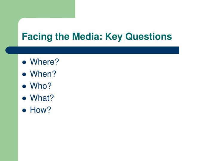Facing the Media: Key Questions