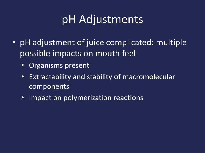 pH Adjustments