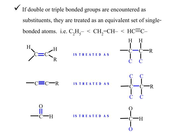 If double or triple bonded groups are encountered as