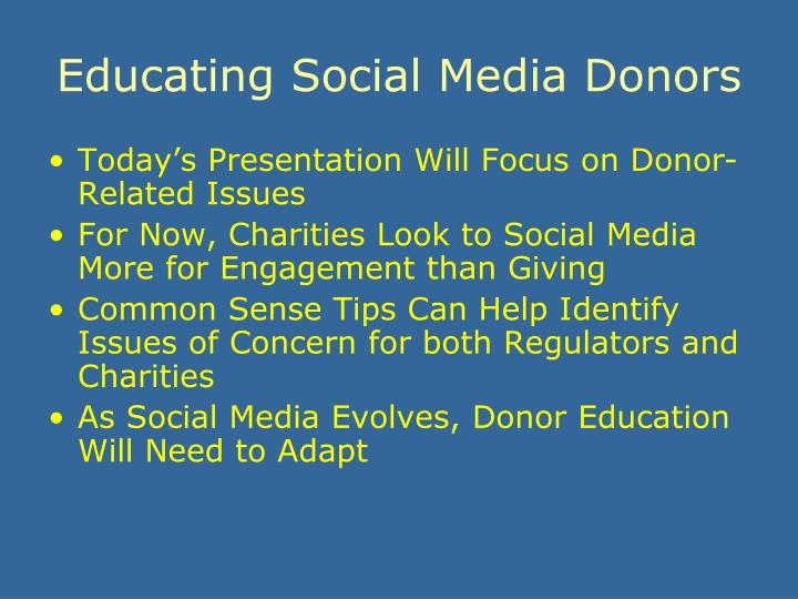 Educating social media donors