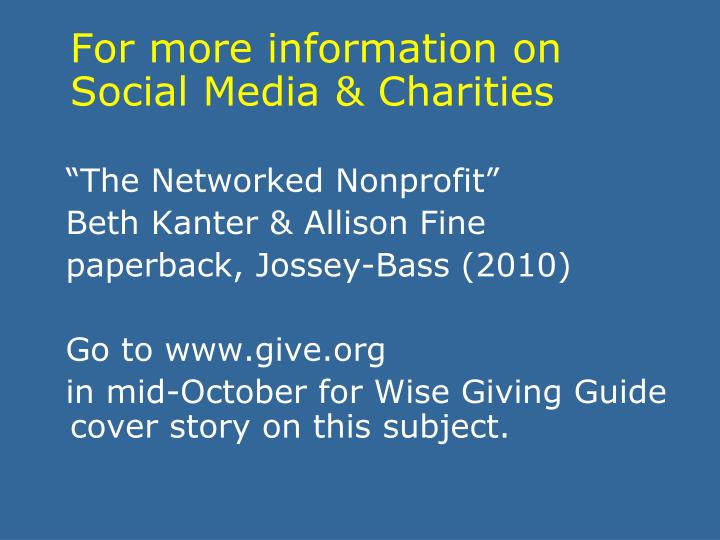 For more information on Social Media & Charities