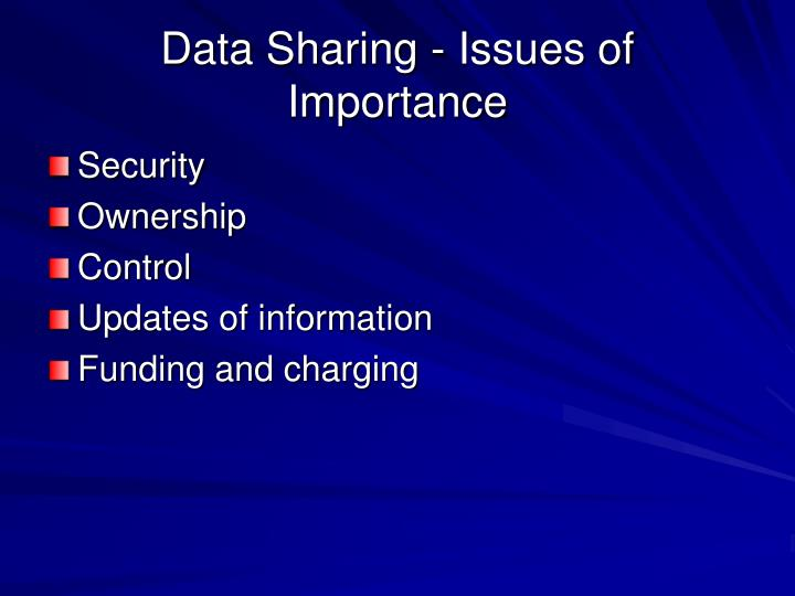 Data Sharing - Issues of Importance