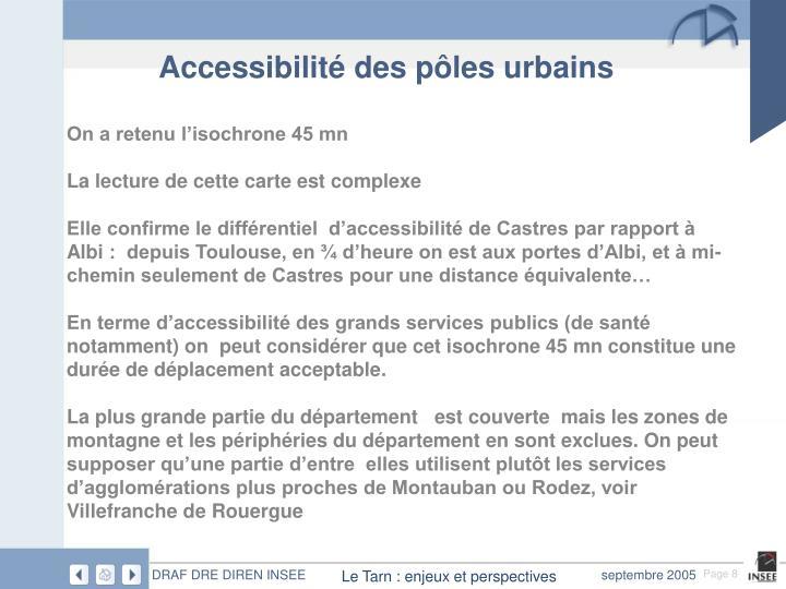 Accessibilité des pôles urbains