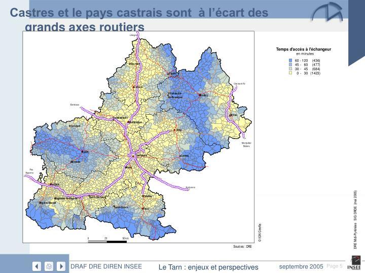 Castres et le pays castrais sont  à l'écart des grands axes routiers