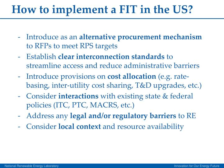 How to implement a FIT in the US?