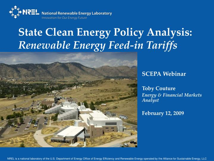 State clean energy policy analysis renewable energy feed in tariffs