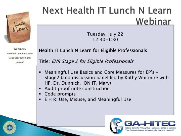 Next Health IT Lunch N Learn Webinar