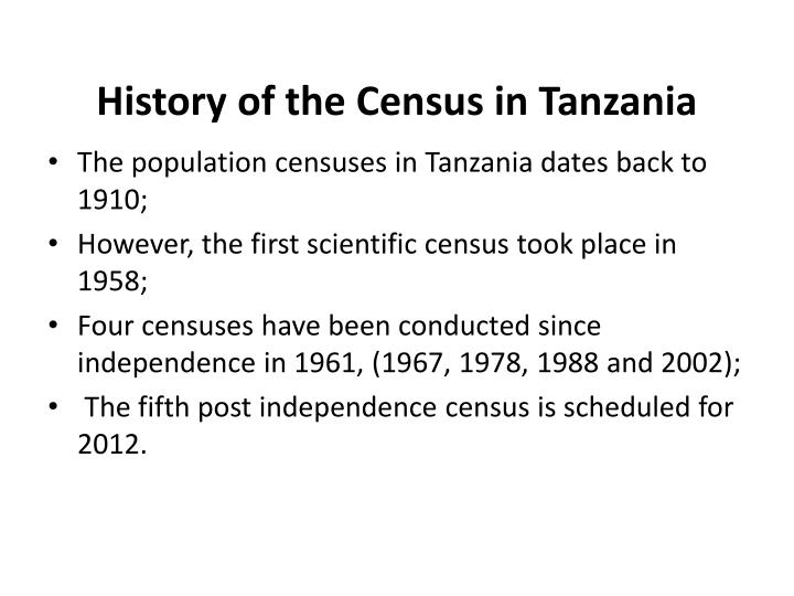 History of the Census in Tanzania