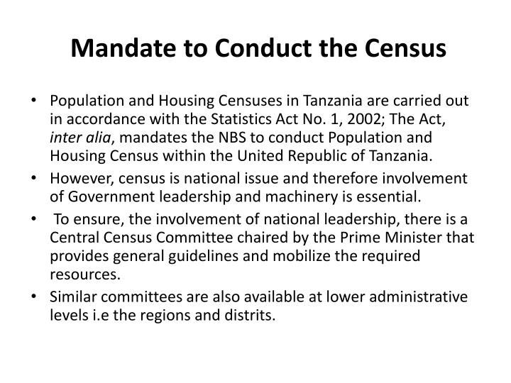 Mandate to Conduct the Census
