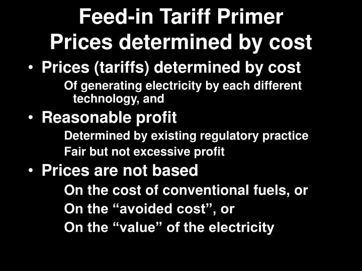 Feed-in Tariff Primer