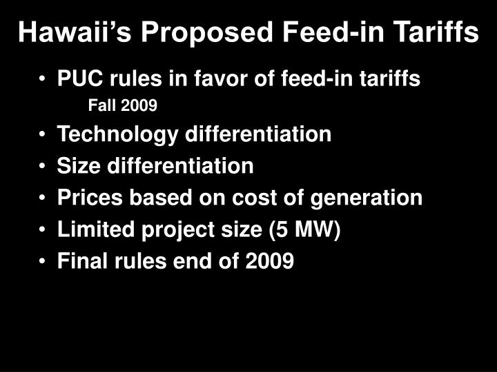 Hawaii's Proposed Feed-in Tariffs