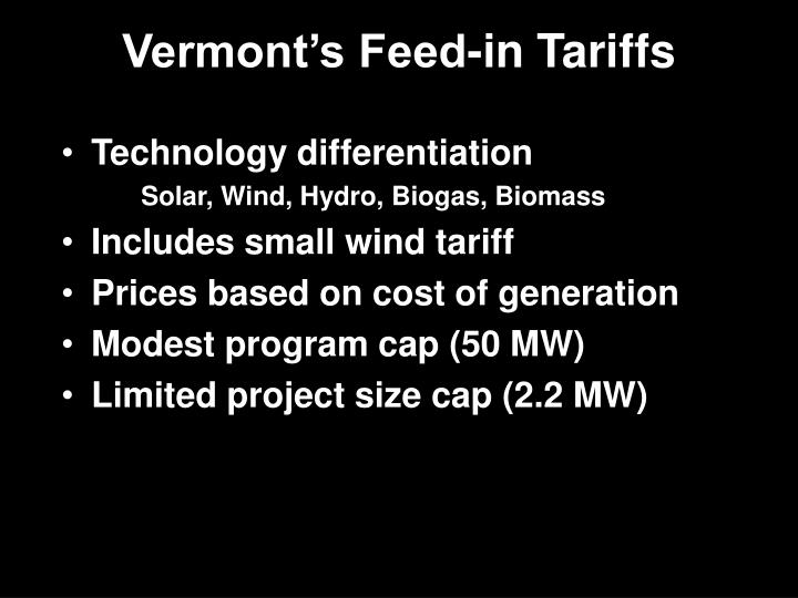 Vermont's Feed-in Tariffs