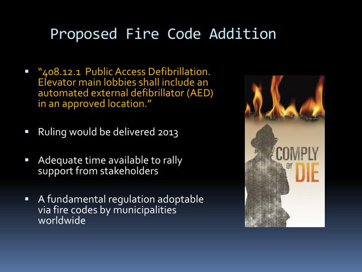 Proposed Fire Code Addition