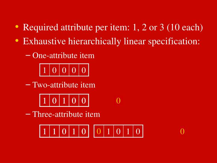 Required attribute per item: 1, 2 or 3 (10 each)