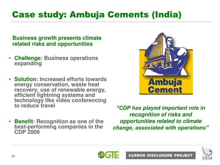 Case study: Ambuja Cements (India)