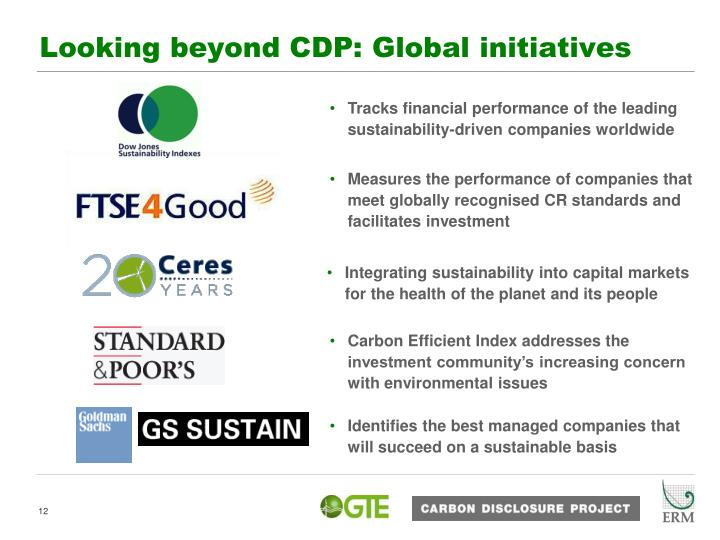 Measures the performance of companies that meet globally recognised CR standards and facilitates investment