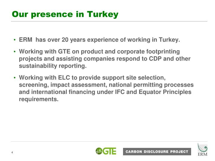 Our presence in Turkey
