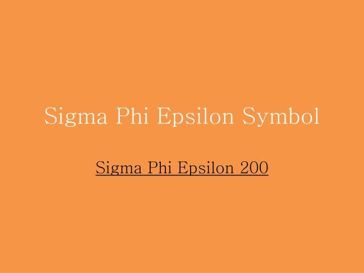 Sigma Phi Epsilon Symbol