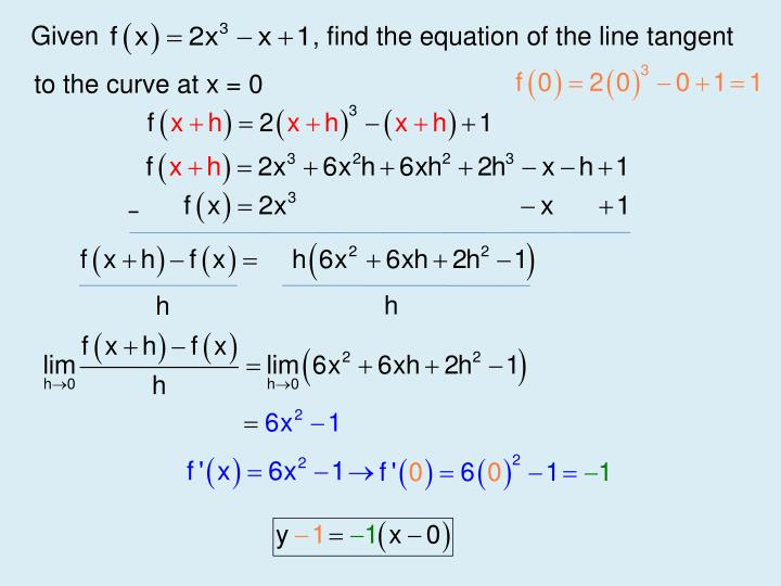 , find the equation of the line tangent