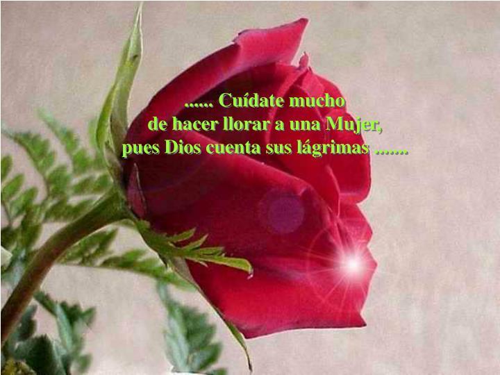 ...... Cuídate mucho                                        de hacer llorar a una Mujer,                                                     pues Dios cuenta sus lágrimas .......