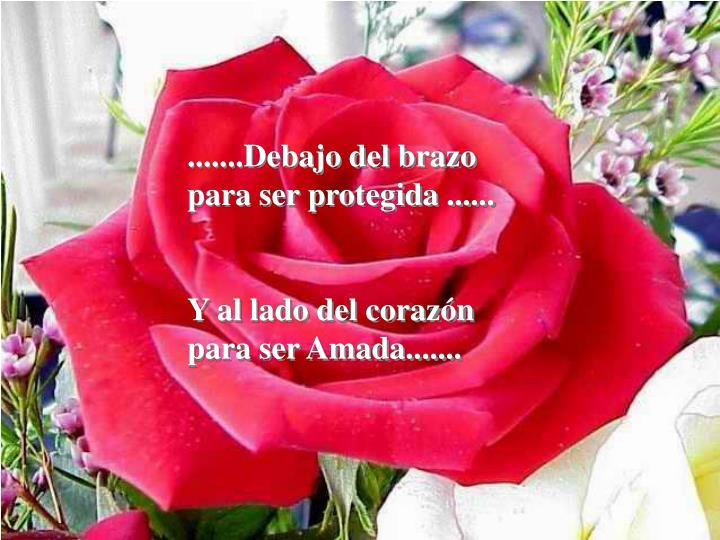 .......Debajo del brazo para ser protegida ......