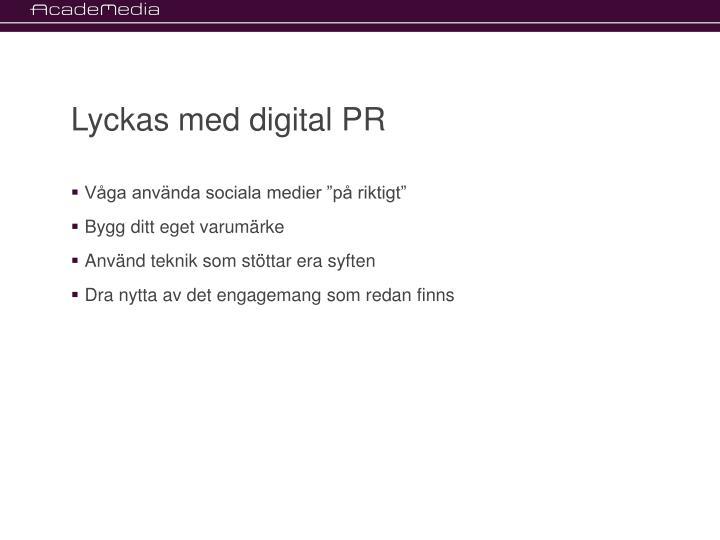 Lyckas med digital PR