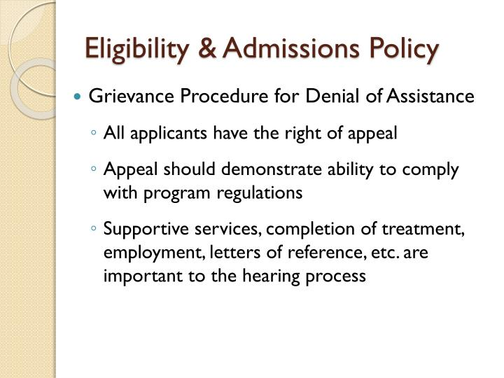 Eligibility & Admissions Policy
