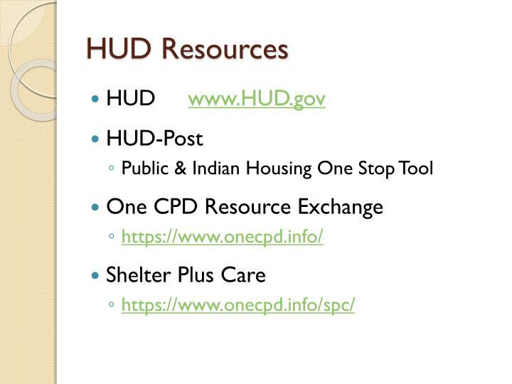 HUD Resources
