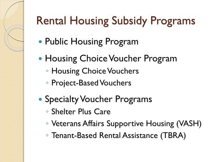 Rental Housing Subsidy Programs
