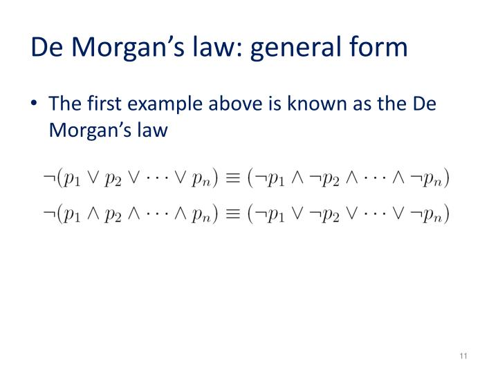 De Morgan's law: general form