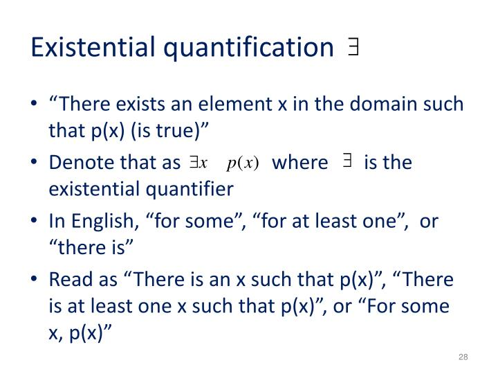 Existential quantification