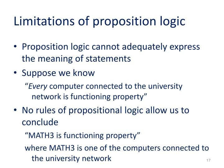 Limitations of proposition logic