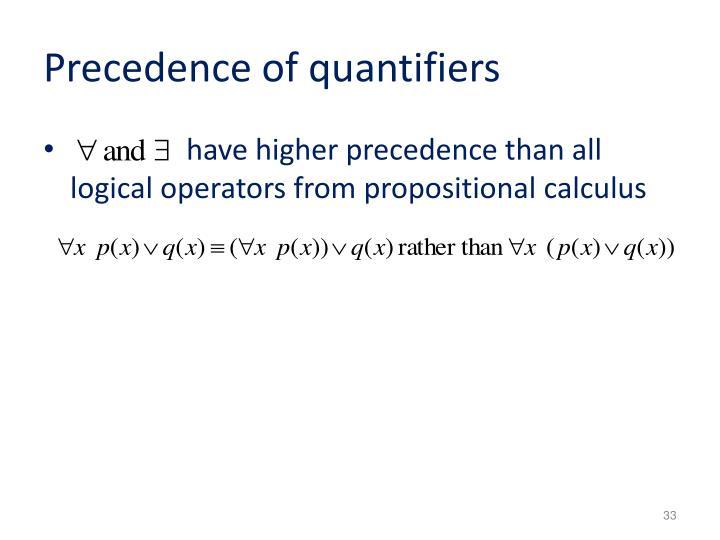 Precedence of quantifiers