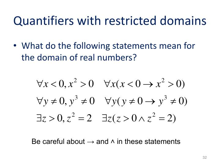 Quantifiers with restricted domains