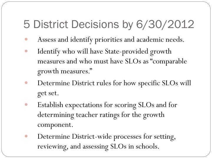 5 District Decisions by 6/30/2012