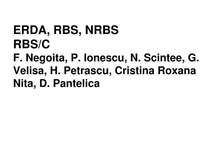 ERDA, RBS, NRBS