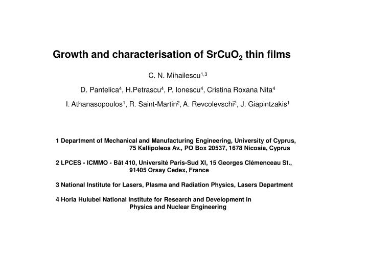 Growth and characterisation of SrCuO