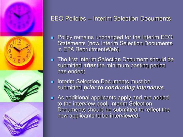 EEO Policies – Interim Selection Documents