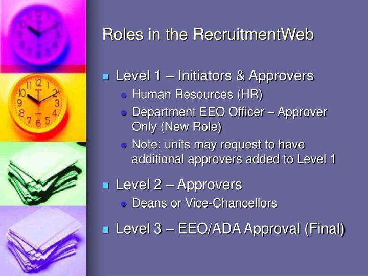 Roles in the RecruitmentWeb