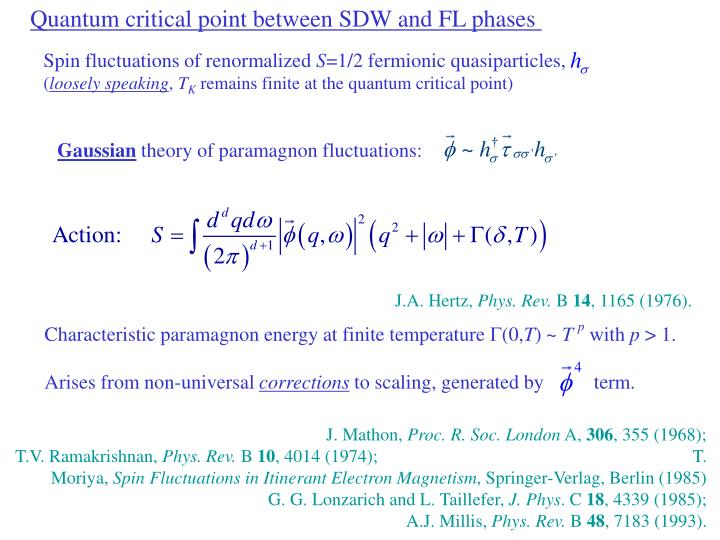 Quantum critical point between SDW and FL phases