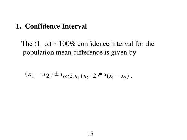 1.  Confidence Interval