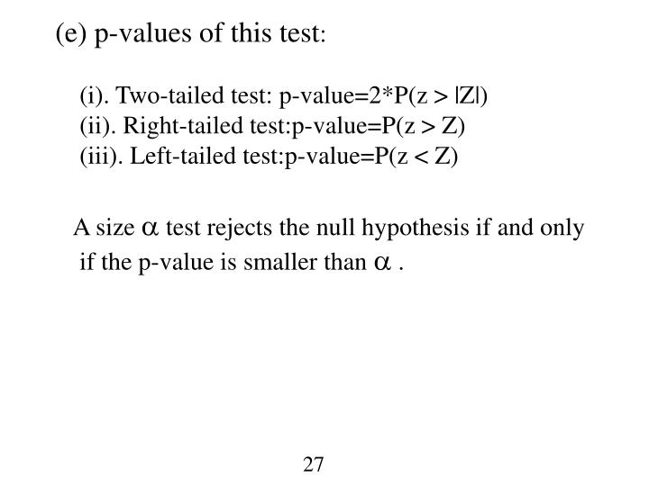 (e) p-values of this test