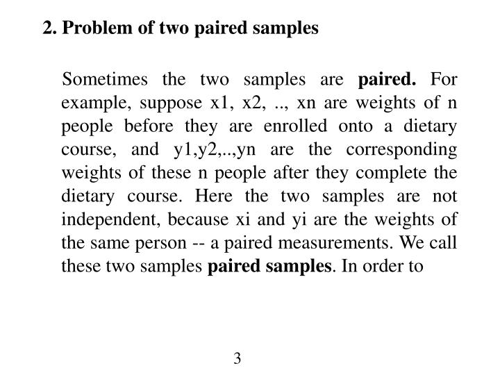2. Problem of two paired samples