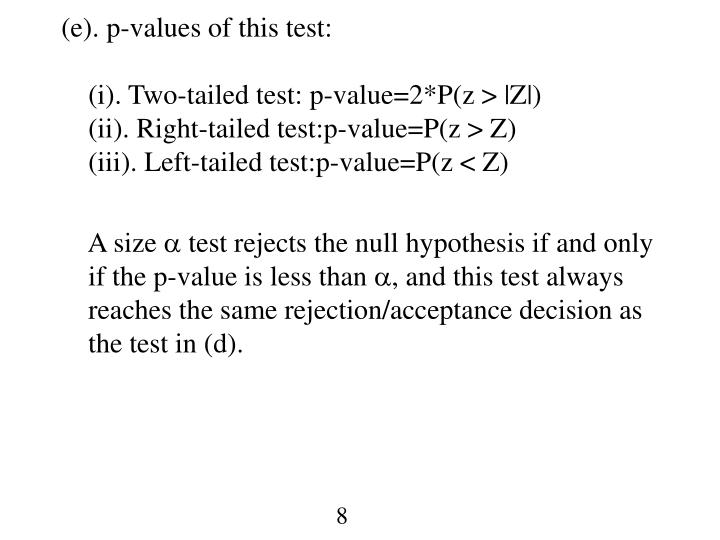 (e). p-values of this test: