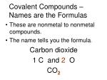 covalent compounds names are the formulas