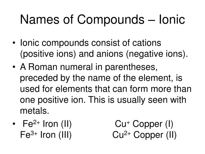 Names of Compounds – Ionic