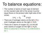 to balance equations